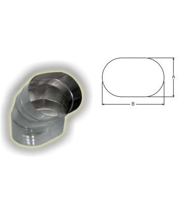 tubo ovale curva 45 gradi in piano
